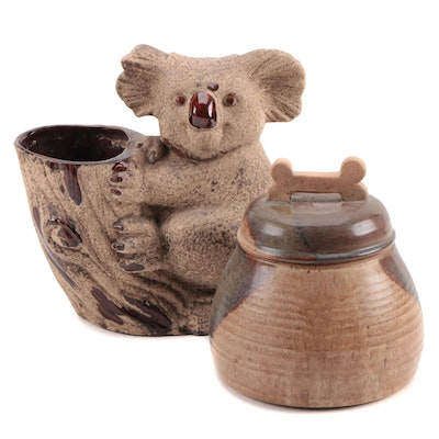 Royal Haeger Koala Planter with Handcrafted Earthenware Pet Treat Jar