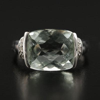 10K White Gold Prasiolite and Diamond Ring