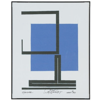 "Robert Lackney Abstract Giclée ""Structure: Three Squares Line Space Study"""