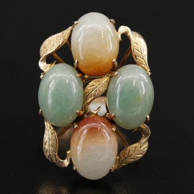 Vintage 10K Yellow Gold Jadeite Ring
