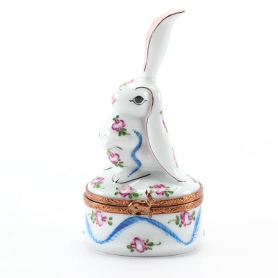 "Hand-Painted ""Bunny One Ear Up"" Porcelain Limoges Box"