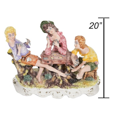 Capodimonte Hand-Painted Women Playing Cards Porcelain Figurine