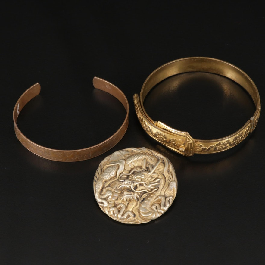 Vintage Cuff and Buckle Bracelets with Japanese Dragon Brooch