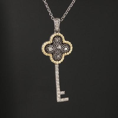 Sterling Diamond Key Pendant Necklace