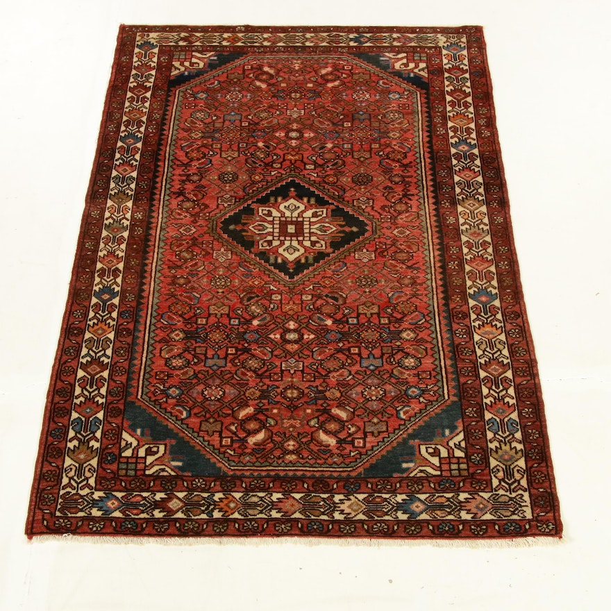 4'1 x 6'5 Hand-Knotted Persian Malayer Rug, 1970s