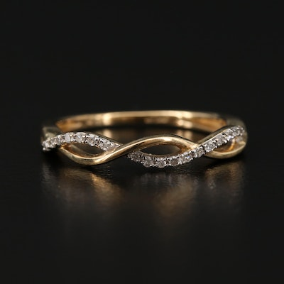 10K Gold Diamond Twisted Ring
