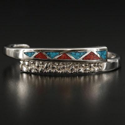 Southwestern Style Bypass Cuff Inlay Bracelet