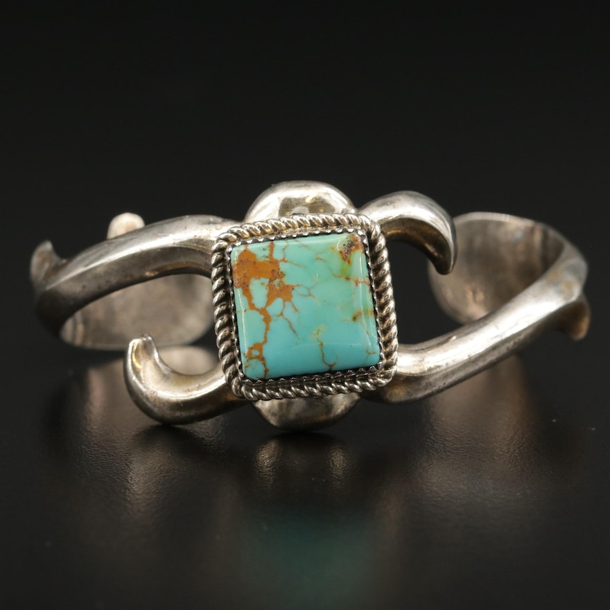 Southwestern Style Sterling Turquoise Cuff with Sand Cast Accent