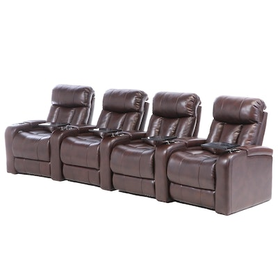 Contemporary Modular Electric Reclining Faux Leather Sofa