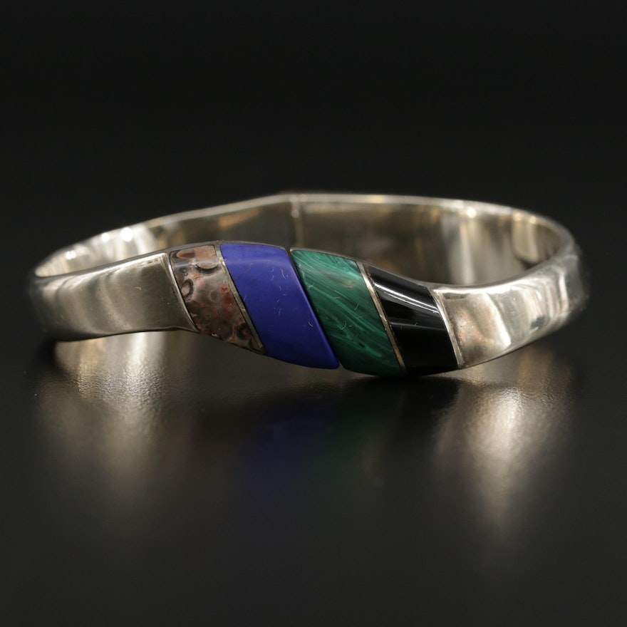 Mexican Sterling Silver Jasper and Malachite Hinged Bracelet