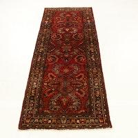 3'8 x 10'2 Hand-Knotted Persian Lilihan Carpet Runner, 1970s