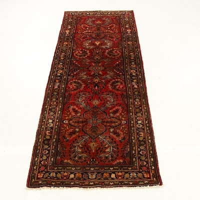 3'8 x 10'2 Hand-Knotted Persian Lilihan Carpet Runner, 1970s