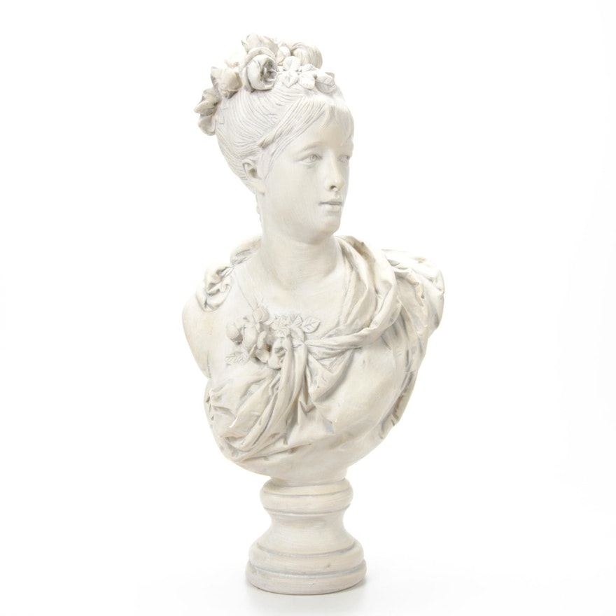 Chalkware Bust of Woman with Flowers, 20th Century
