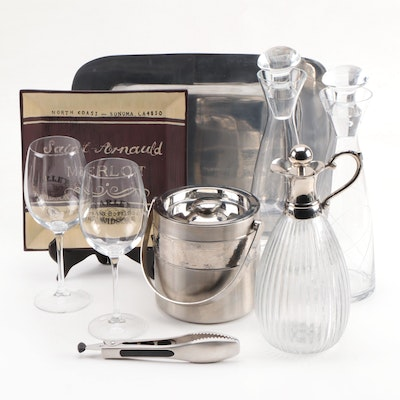 Glass Decanters, Carafe and Stemware with Bar Accessories and Table Décor
