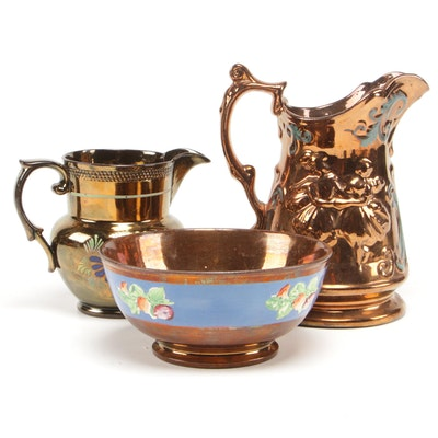 Hand-Painted Copper Luster Pitchers and Bowl