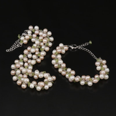 Sterling Silver Pearl and Peridot Necklace and Bracelet Set