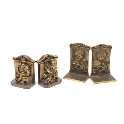 Bronze American Legion and Cast Metal Scholar Bookends