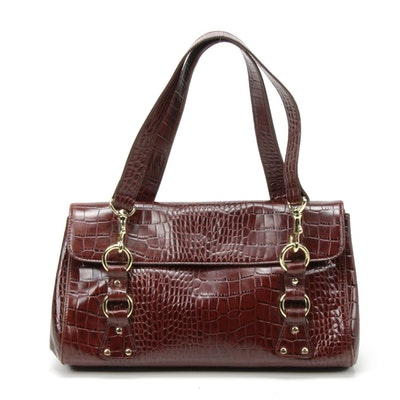 Ralph Lauren Alligator Embossed Mahogany Brown Leather Shoulder Bag