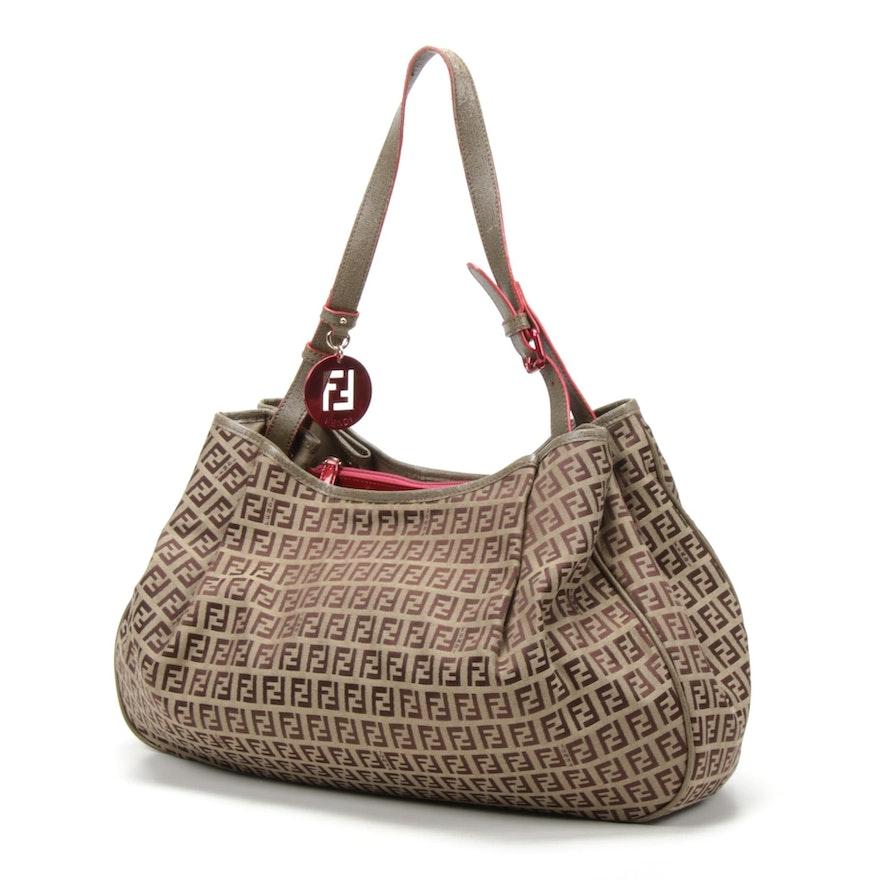 Fendi Zucchino Canvas Shoulder Bag Trimmed in Leather