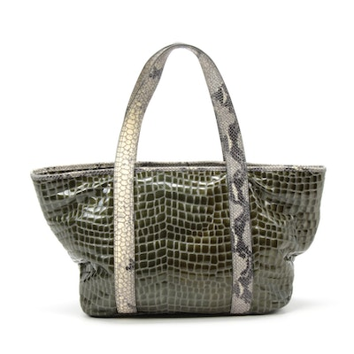 Vintage Reign Faux Crocodile and Python Print Tote