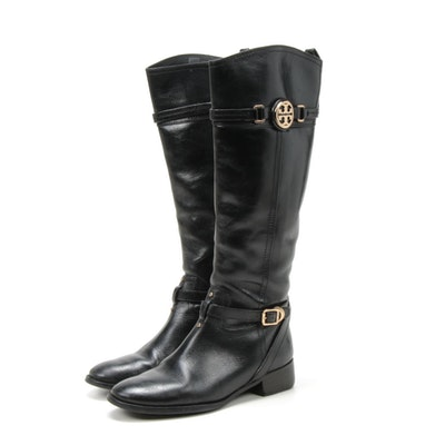 Tory Burch Logo and Buckle Strap Black Leather Calista Riding Boots