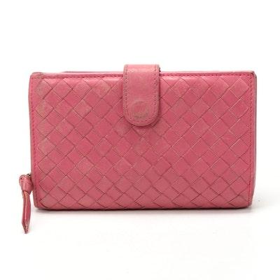 Bottega Veneta Continental Wallet in Pink Intrecciato Nappa Leather