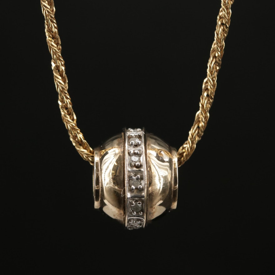 10K Diamond Accented Bead on 9K Rope Chain Necklace