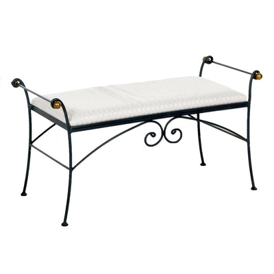 Charleston Forge Upholstered Handmade Metal Bench