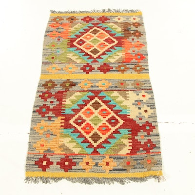 1'11 x 3'8 Handwoven Turkish Village Kilim Rug, 2010s