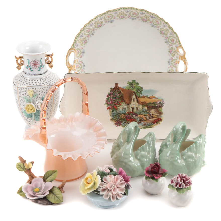 Jean Pouyat Porcelain Cake Plate with Other Porcelain and Glass Table Decor