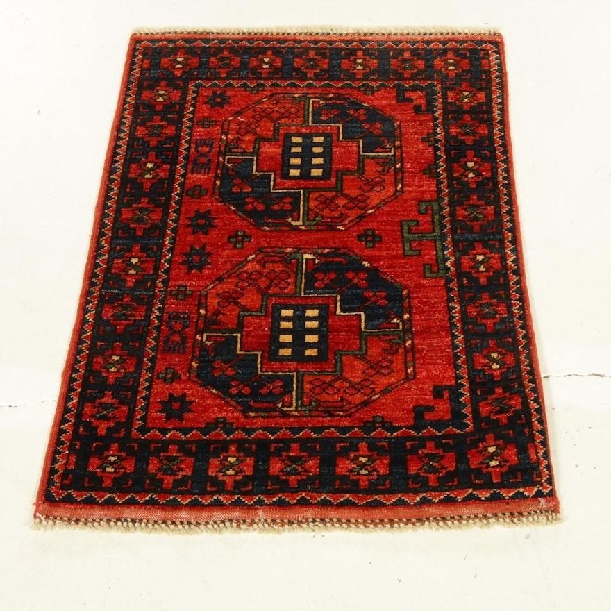 2'1 x 3'5 Hand-Knotted Afghani Turkoman Rug, 2010s