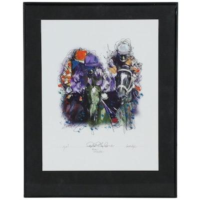 """Robert Lackney Horse Racing Embellished Giclée """"Go!"""""""