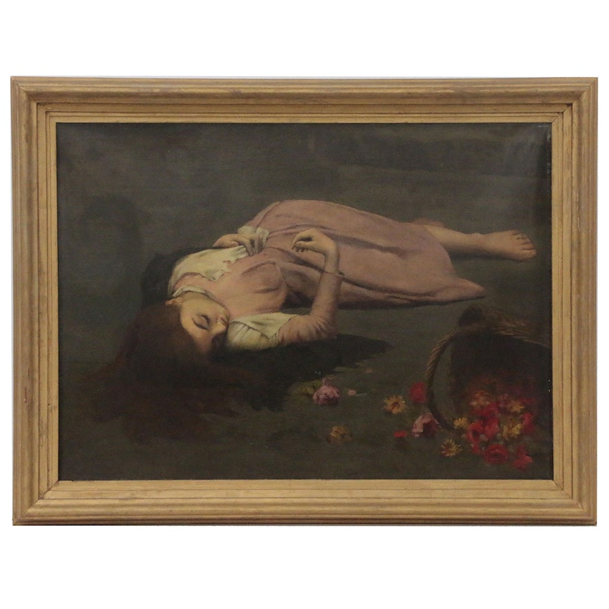 Oil Painting of Girl with Flowers, Late 20th Century
