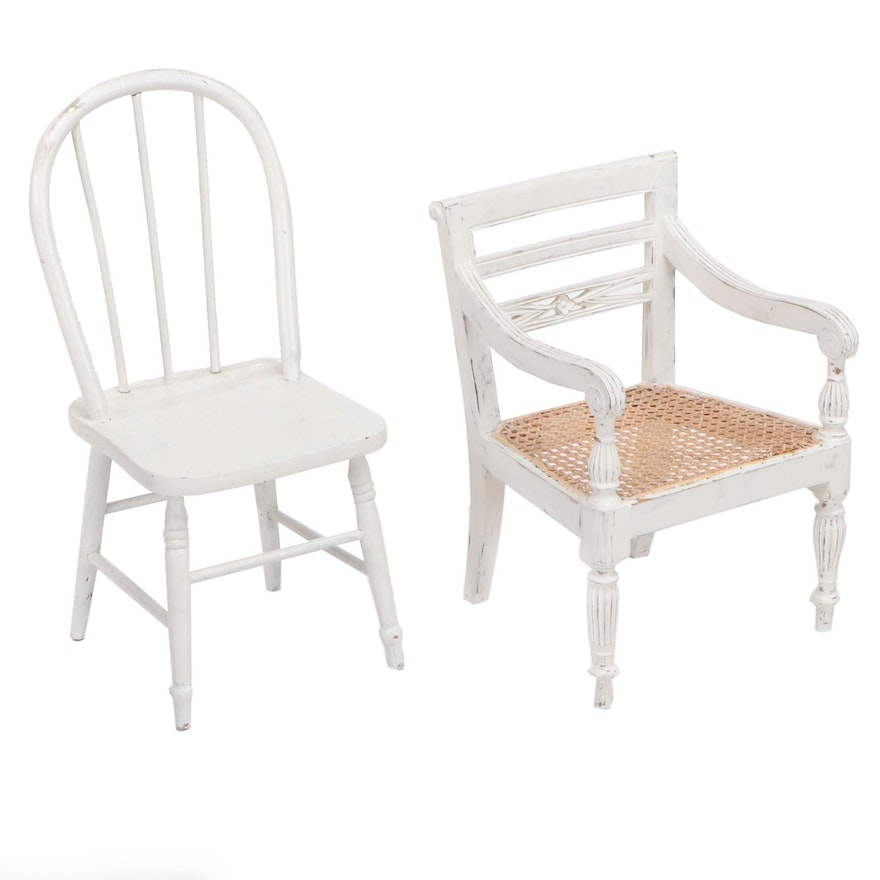 Indonesian Painted Wood Child's Cane Seat Arm Chair and Bent Wood Side Chair
