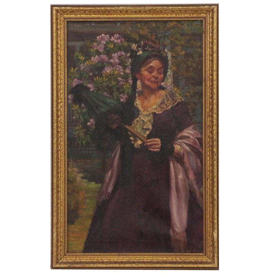 Emile De Alexay Oil Portrait of a Woman, 1925