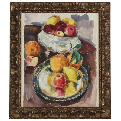 Watercolor Still Life with Bowls of Fruit, 20th Century