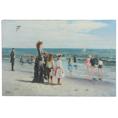 Oil Painting of a Day at the Beach, Mid 20th Century