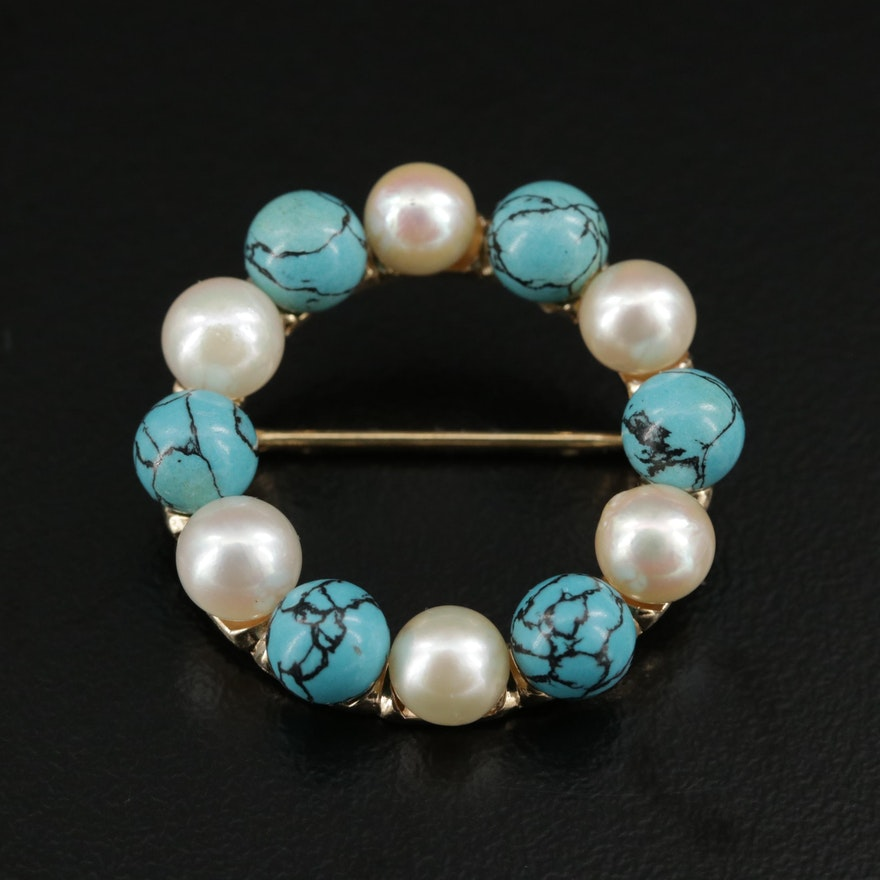 Turquoise and Cultured Pearl Circle Brooch