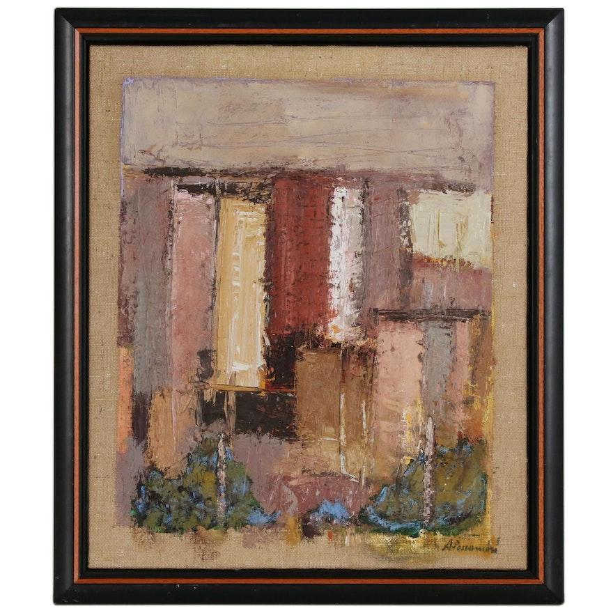 "Francesco Alessandri Abstract Oil Painting ""Sintesi di Paesaggio Urbano"", 2000"