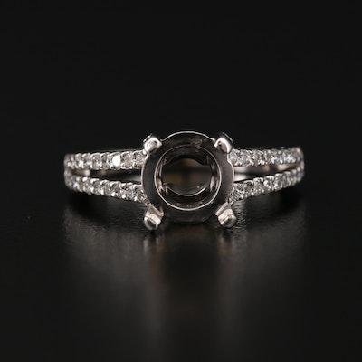 18K Gold Diamond Semi Mount Ring