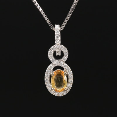 18K White Gold Sapphire and Diamond Pendant on 14K Gold Box Chain Necklace