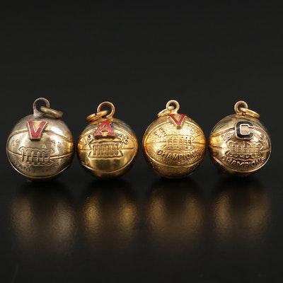 Vintage Basketball Pendants Featuring Enamel Letter Accents