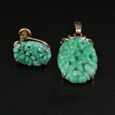 1940s Peking Glass Pendant and Single Earring