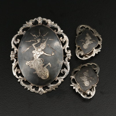 Vintage Siam Sterling Silver Brooch and Clip Earring Set