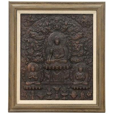 Himalayan Repoussé Copper Panel of Medicine Buddha