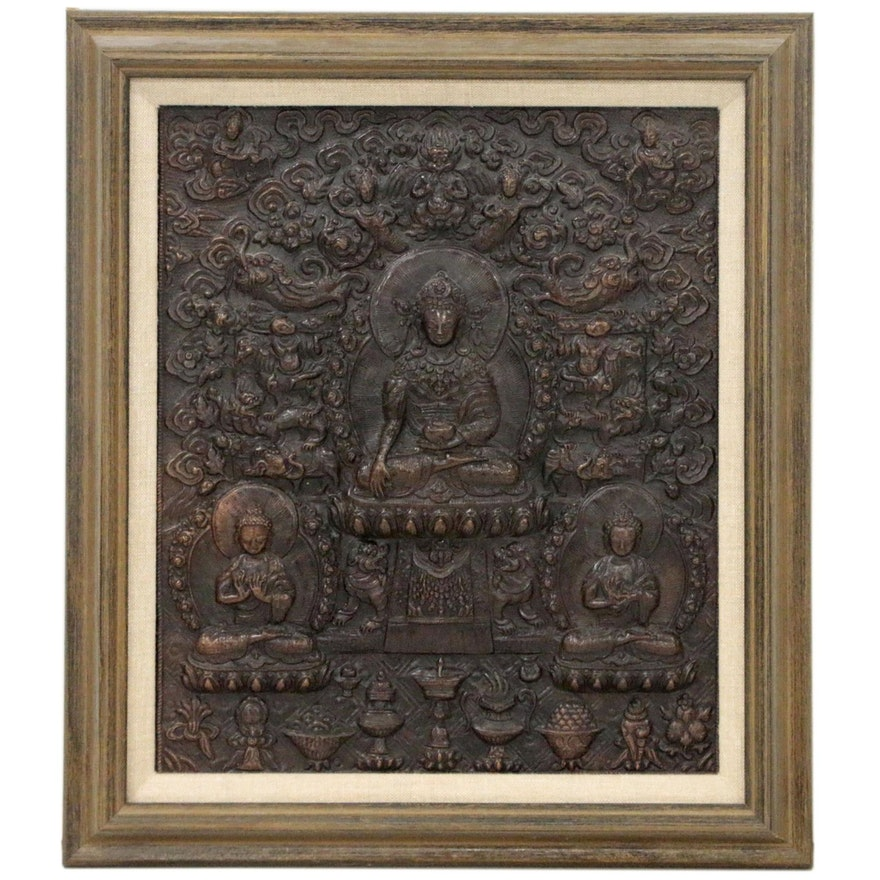 Himalayan Repoussé Copper Panel of Medicine Buddha