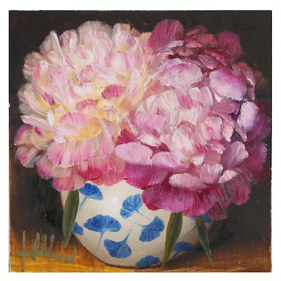 "Thuthuy Tran Oil Painting ""Peonies and Ginkgo Vase"""