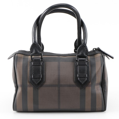 Burberry Boston Bag in Smoked Black and Brown PVC and Leather