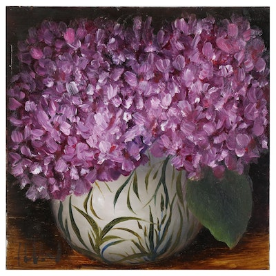 "Thuthuy Tran Oil Painting ""Hydrangeas in April"""