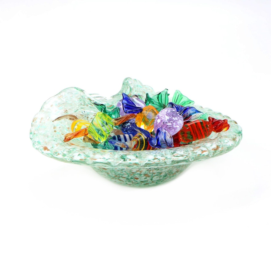 Blown Art Glass Candy Pieces and Candy Bowl, Mid to Late 20th Century